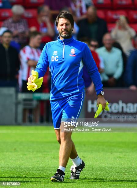Lincoln City manager Danny Cowley during the prematch warmup prior to the Sky Bet League Two match between Lincoln City and Luton Town at Sincil Bank...