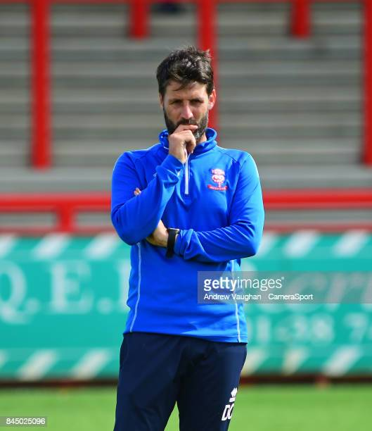 Lincoln City manager Danny Cowley during the prematch warmup prior to the Sky Bet League Two match between Stevenage and Lincoln City at The Lamex...