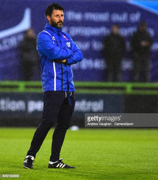 Lincoln City manager Danny Cowley during the prematch warmup prior to the Sky Bet League Two match between Forest Green Rovers and Lincoln City at...