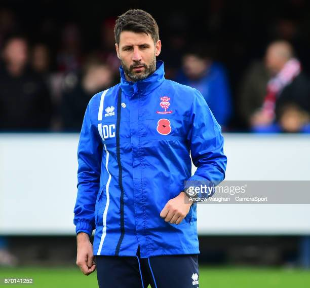 Lincoln City manager Danny Cowley during the prematch warmup prior to the Emirates FA Cup First Round match between AFC Wimbledon and Lincoln City at...