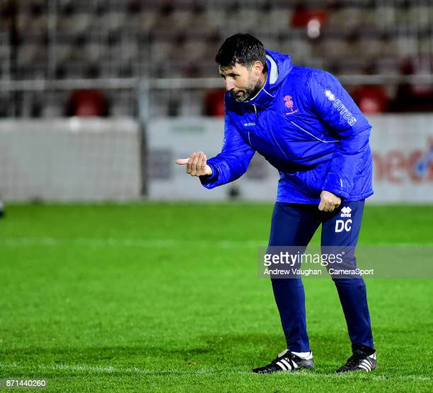 Lincoln City manager Danny Cowley during the prematch warmup prior to the EFL Checkatrade Trophy Northern Section Group G match between Lincoln City...