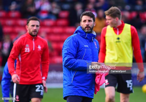 Lincoln City manager Danny Cowley during the prematch warmup prior to the Sky Bet League Two match between Lincoln City and Coventry City at Sincil...