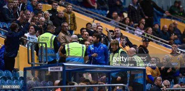 Lincoln City manager Danny Cowley makes his way to the stand after being sent off by referee David Webb during the EFL Checkatrade Trophy Northern...
