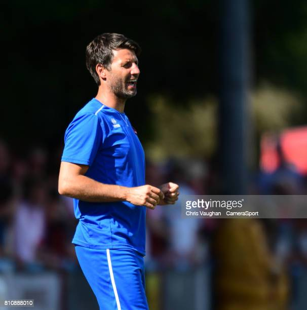 Lincoln City manager Danny Cowley shouts instructions to his team from the technical area during the preseason friendly match between Lincoln United...