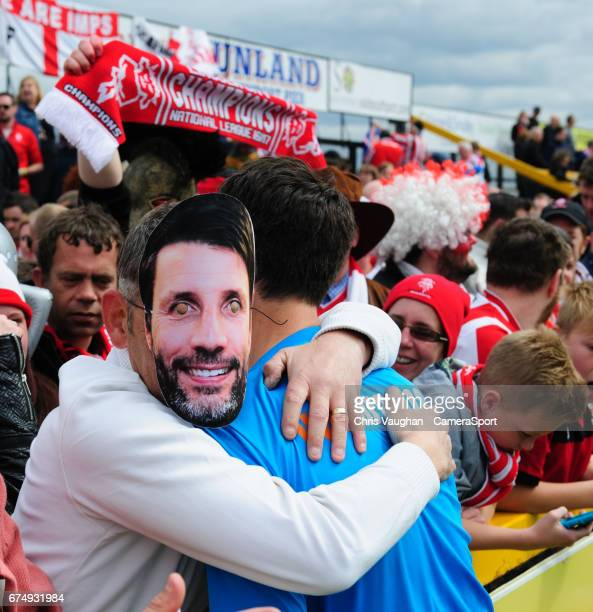 Lincoln City manager Danny Cowley with fans after the Vanarama National League match between Southport and Lincoln City at Merseyrail Community...