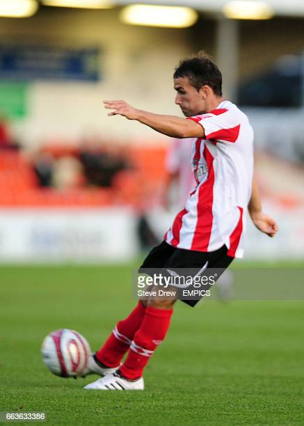 Lincoln City's Chris Fagan scores Lincoln City's second goal of the game