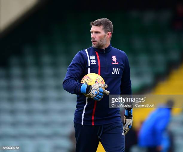 Lincoln City's goalkeeping coach Jimmy Walker during the prematch warmup prior to the Sky Bet League Two match between Yeovil Town and Lincoln City...