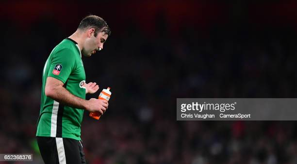 Lincoln City's Matt Rhead after receiving treatment for a facial injury during the Emirates FA Cup QuarterFinal match between Arsenal and Lincoln...