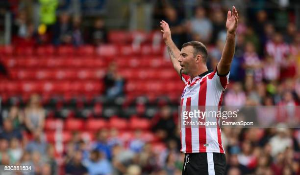 Lincoln City's Matt Rhead during the Sky Bet League Two match between Lincoln City and Morecambe at Sincil Bank on August 12 2017 in Lincoln England