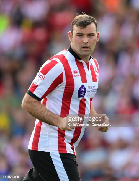 Lincoln City's Matt Rhead during the Sky Bet League Two match between Lincoln City and Luton Town at Sincil Bank Stadium on September 2 2017 in...