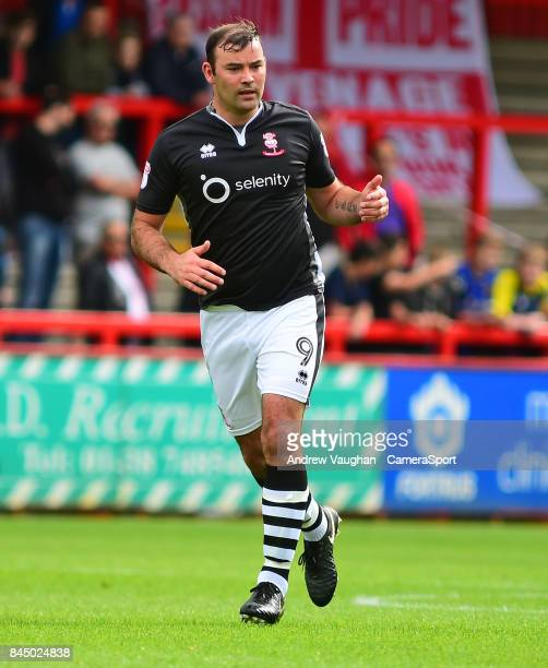 Lincoln City's Matt Rhead during the Sky Bet League Two match between Stevenage and Lincoln City at The Lamex Stadium on September 9 2017 in...