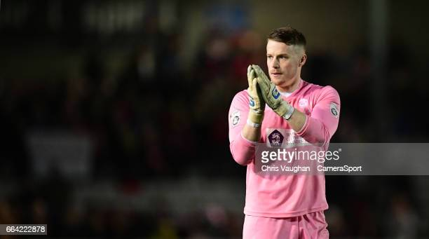 Lincoln City's Paul Farman at the end of the Vanarama National League match between Lincoln City and Dagenham and Redbridge at Sincil Bank Stadium on...