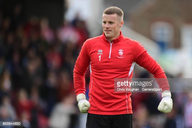 Lincoln City's Paul Farman during the prematch warmup prior to the Sky Bet League Two match between Grimsby Town and Lincoln at Blundell Park on...