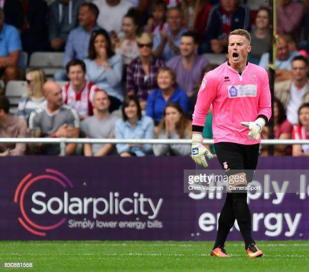 Lincoln City's Paul Farman during the Sky Bet League Two match between Lincoln City and Morecambe at Sincil Bank on August 12 2017 in Lincoln England