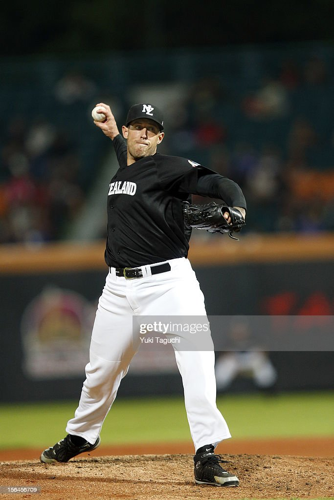 Lincoln Holdzkom #37 of Team New Zealand pitches during Game 2 of the 2013 World Baseball Classic Qualifier against Team Chinese Taipei at Xinzhuang Stadium in New Taipei City, Taiwan on Thursday, November 15, 2012.