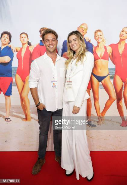 Lincoln Lewis and Chloe Ciesla attend the Australian premiere of 'Baywatch' at Hoyts EQ on May 18 2017 in Sydney Australia