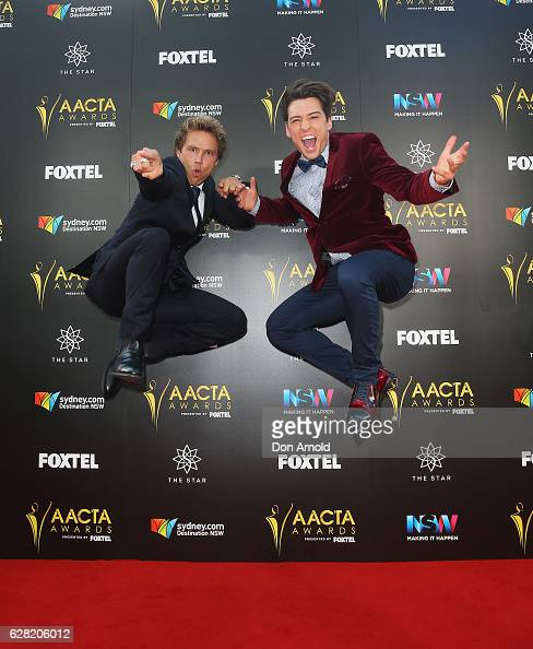 Lincoln Lewis and Taylor Henderson arrive ahead of the 6th AACTA Awards at The Star on December 7 2016 in Sydney Australia