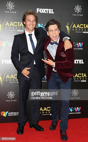 Lincoln Lewis and Taylor Henderson arrive ahead of the 6th AACTA Awards Presented by Foxtel at The Star on December 7 2016 in Sydney Australia