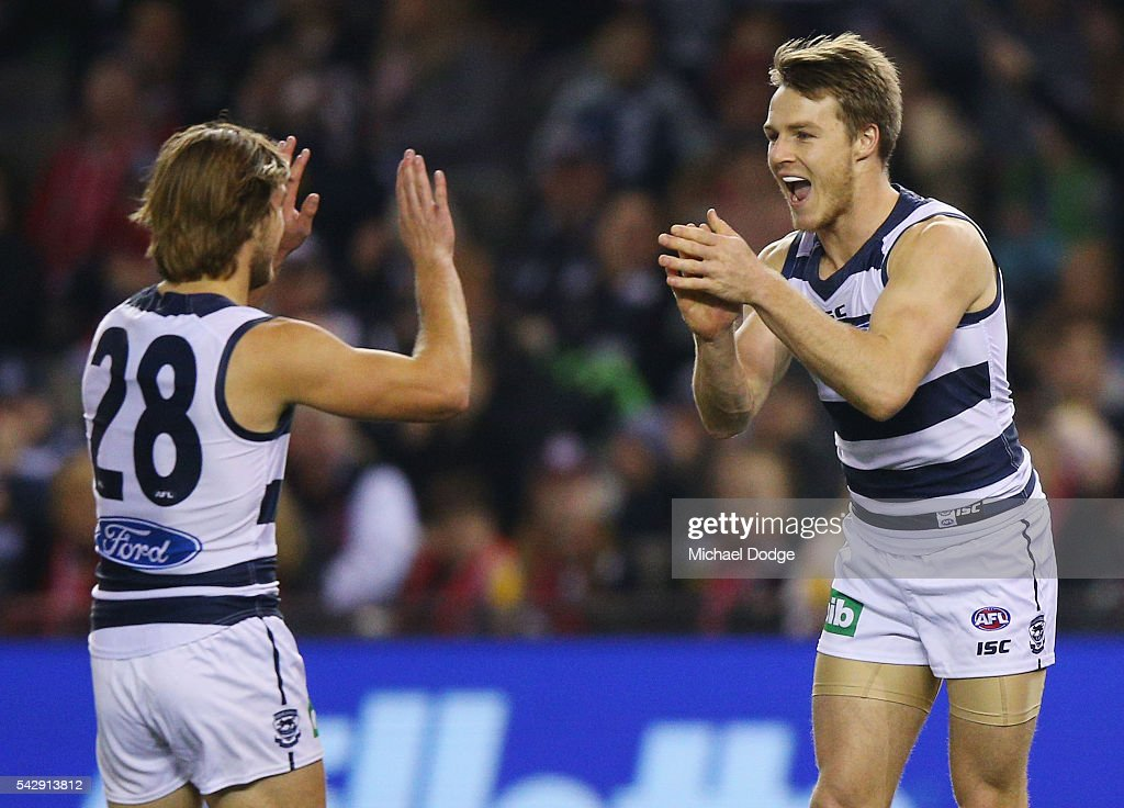 Lincoln McCarthy of the Cats celebrates a goal during the round 14 AFL match between the St Kilda Saints and the Geelong Cats at Etihad Stadium on June 25, 2016 in Melbourne, Australia.