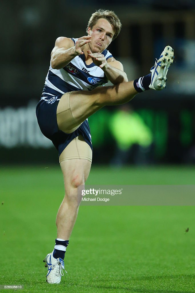 Lincoln McCarthy of the Cats kicks the ball during the round six AFL match between the Geelong Cats and the Gold Coast Suns at Simonds Stadium on April 30, 2016 in Geelong, Australia.