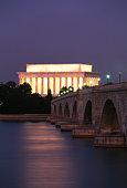 Lincoln Memorial and Memorial Bridge over the Potomac River. Washington, DC