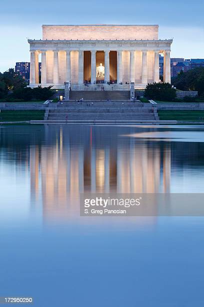 Lincoln memorial lit up with reflection into pool