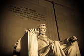 Statue of Abraham Lincoln inside the Lincoln Memorial in Washington DC