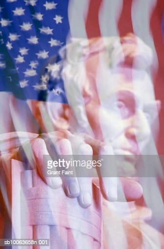 Lincoln Memorial with American flag (Digital Composite) : Stock Photo