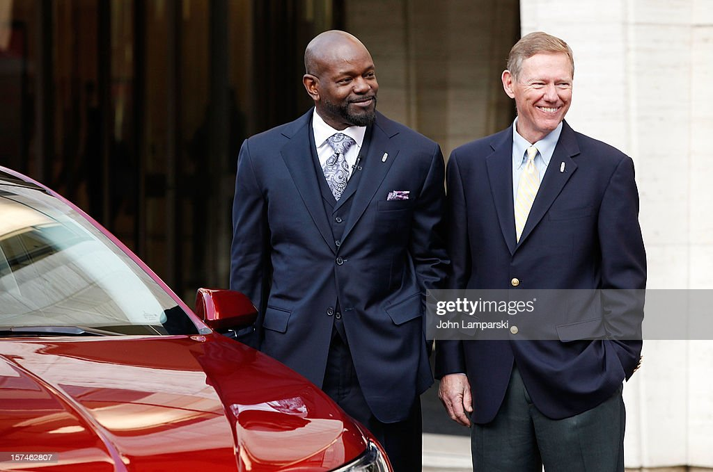 Lincoln Motor Company Ambassador Emmitt Smith and President and CEO of Ford Motor Company Alan Mulally attend Ford Lincoln Unveils New Brand Direction Lincoln With Emmitt Smith at Lincoln Center on December 3, 2012 in New York City.