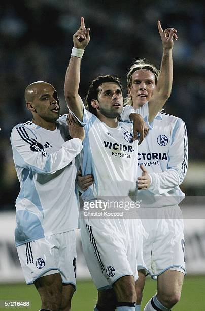 Lincoln of Schalke celebrates his first goal during the UEFA Cup quarter final first leg match between Levski Sofia and FC Schalke 04 at the Vasil...