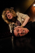 Lincoln Parish and Matthew Shultz of American garage rock group Cage The Elephant posing in the Bristol Thekla on March 26 2008 *** Lincoln...