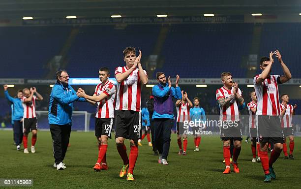 Lincoln players applaud supporters during the Emirates FA Cup third round match between Ipswich Town and Lincoln City at Portman Road on January 7...