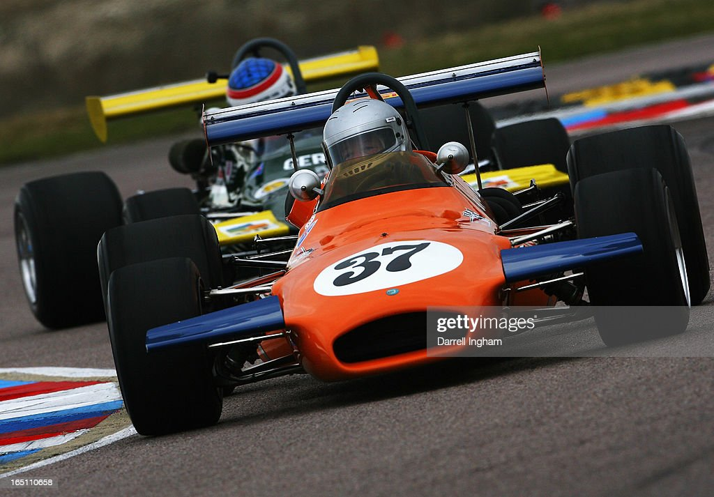Lincoln Small drives the ex Derek Bell Brabham BT30 during the Jochen Rindt Trophy Formula 2 race at the Historic Sports Car Club Thruxton Revival Meeting at the Thruxton Circuit on March 30, 2013 near Andover, United Kingdom.