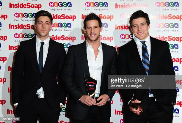 Lincoln Younes Dan Ewing and Steve Peacocke with the awards for 'Best Daytime Star' and 'Best Daytime Soap' at the 2013 Inside Soap Awards Ministry...