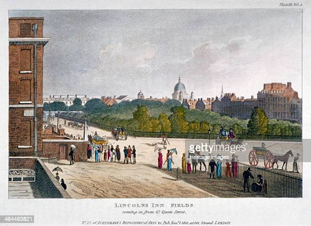 Lincoln's Inn Fields Holborn London 1810 View from Great Queen Street with figures horses and carriages