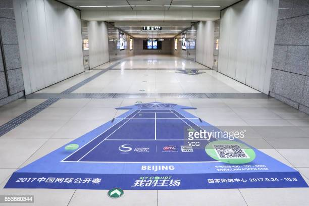 Lincuiqiao Station on Beijing Subway Line 8 is seen decorated for the upcoming China Open on September 25 2017 in Beijing China The upcoming tennis...