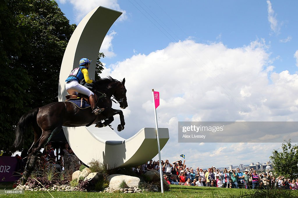 Linda Algotsson of Sweden riding La Fair jumps through 'The Moon' obstacle in the Individual Eventing Cross Country Equestriant on Day 3 of the London 2012 Olympic Games at Greenwich Park on July 30, 2012 in London, England.