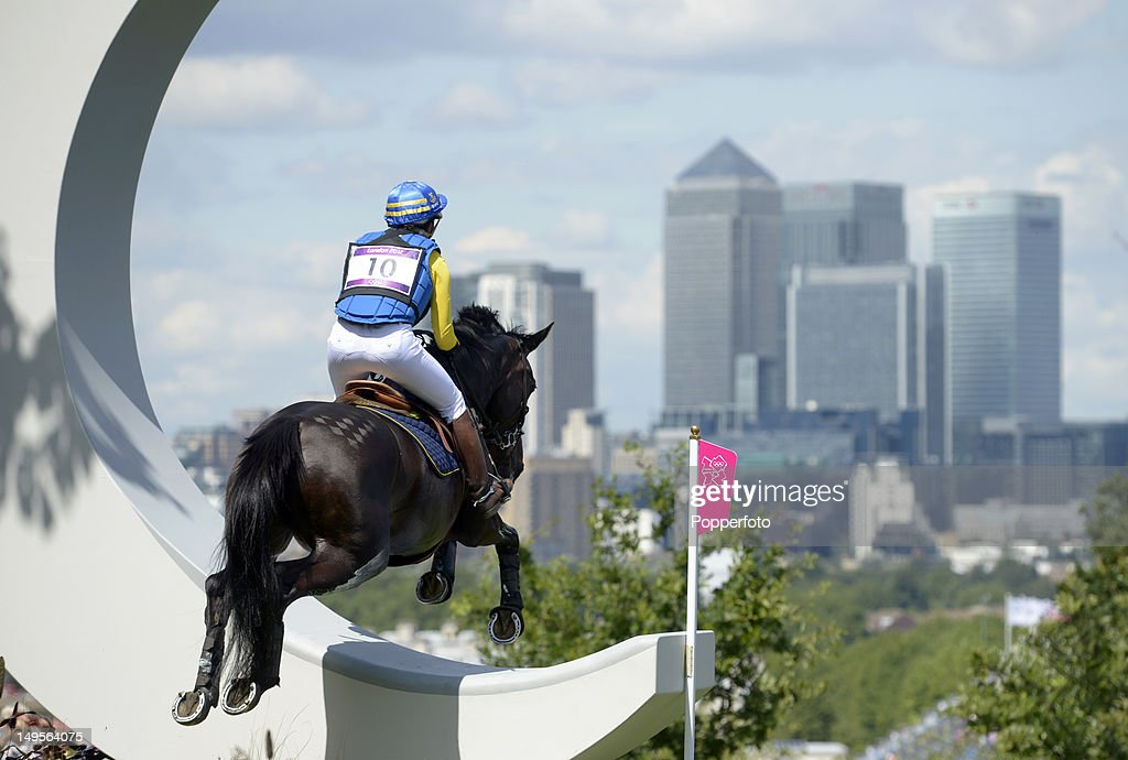 Linda Algotsson of Sweden riding La Fair negotiates a jump in the Eventing Cross Country Equestrian event on Day 3 of the London 2012 Olympic Games...