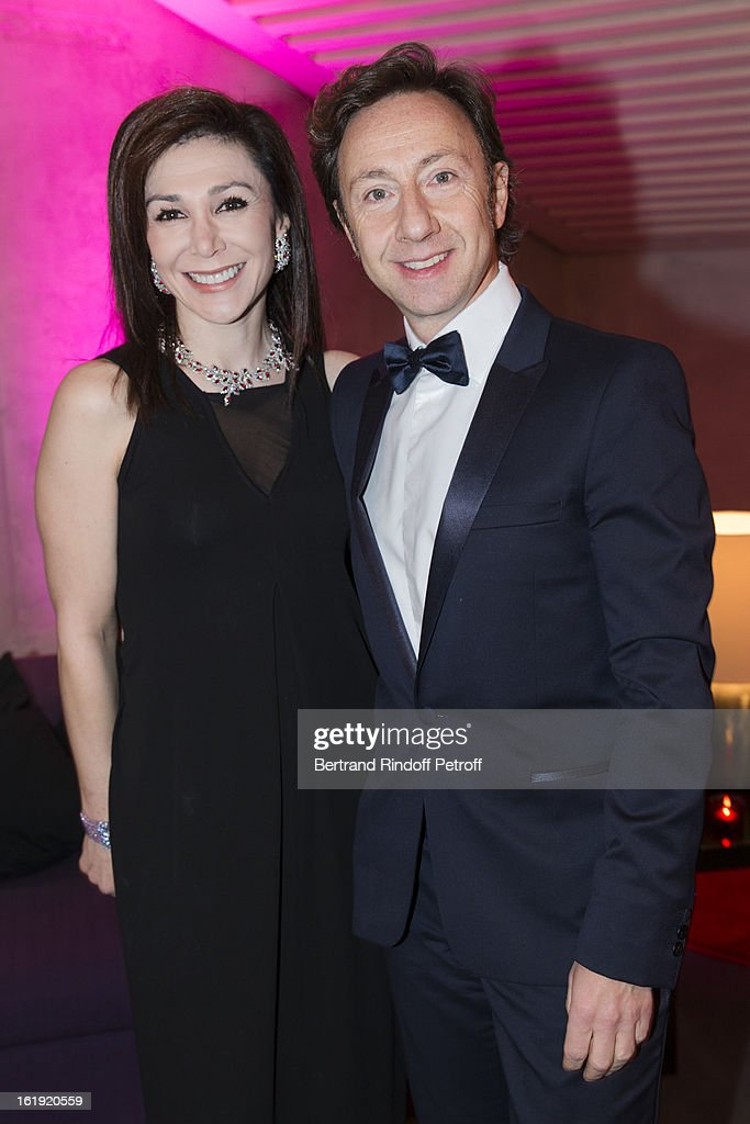 Linda Barras, President of the event, and Stephane Bern, French journalist and author, attend the 30th edition of 'La Nuit Des Neiges' Charity Gala on February 16, 2013 in Crans-Montana, Switzerland.