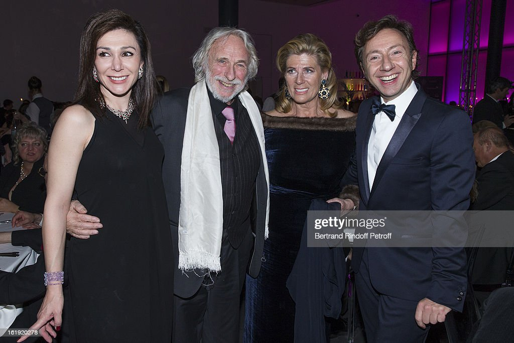 Linda Barras, President of the event, Pierre Richard, French actor, Princess Lea of Belgium, acting as honorary chairperson of the event, and Stephane Bern, French journalist and author, attend the 30th edition of 'La Nuit Des Neiges' Charity Gala on February 16, 2013 in Crans-Montana, Switzerland.