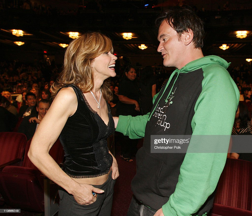 Linda Blair and QuentinTarantino during Spike TV's 'Scream Awards 2006' Backstage and Audience at Pantages Theater in Hollywood California United...