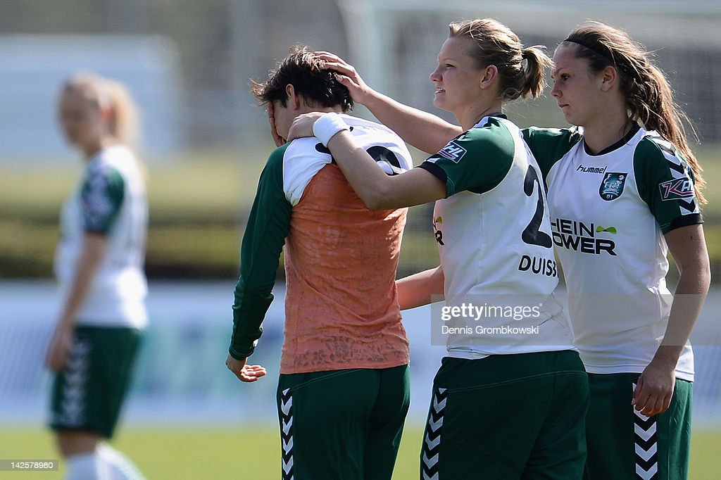 Linda Bresonik of Duisburg cries after missing a chance at goal during the Women's DFB Cup semi final match between 1. FFC Frankfurt and FCR Duisburg at Brentanobad Stadium on April 8, 2012 in Frankfurt am Main, Germany.