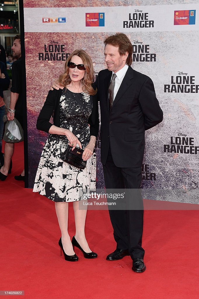 Linda Bruckheimer and Jerry Bruckheimer attend the premiere of 'Lone Ranger' at Sony Centre on July 19, 2013 in Berlin, Germany.