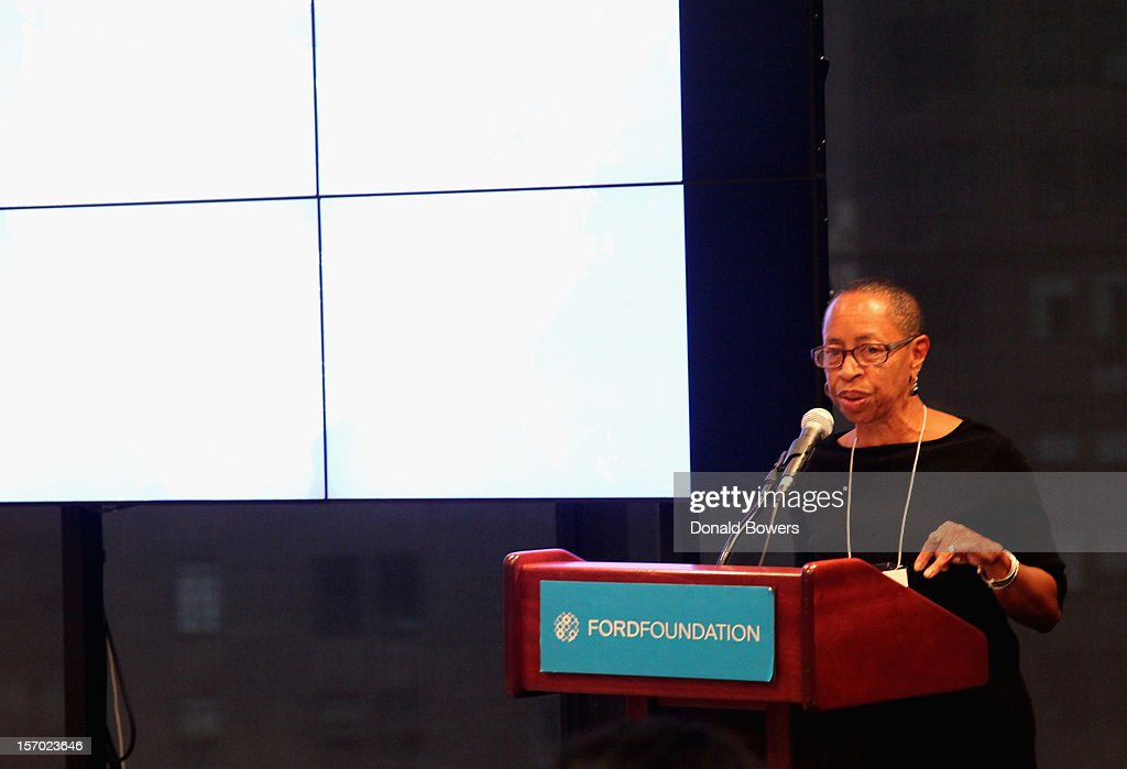 Linda Burnham speaks during a panel at The Ford Foundation Hosts Day Of Discussion On The Hidden World Of Domestic Work In The US at Ford Foundation on November 27, 2012 in New York City.