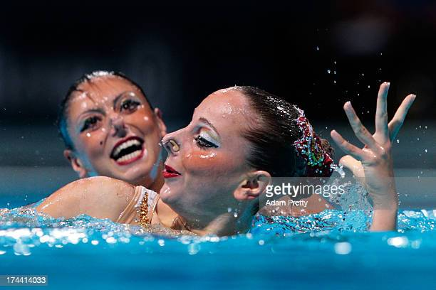 Linda Cerruti and Costanza Ferro of Italy compete during the Synchronized Swimming Duet Free Final on day six of the 15th FINA World Championships at...
