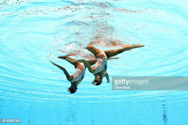 Linda Cerruti and Costanza Ferro of Italy compete during the Synchronised Swimming Duet Technical final on day three of the Budapest 2017 FINA World...