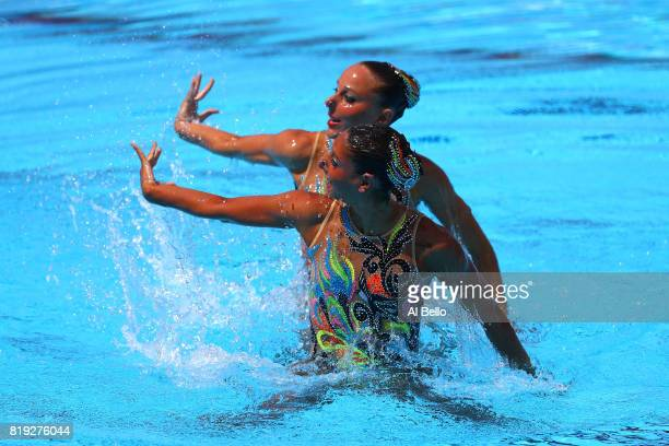 Linda Cerruti and Costanza Ferro of Italy compete during the Synchronized Swimming Duet Free final on day seven of the Budapest 2017 FINA World...