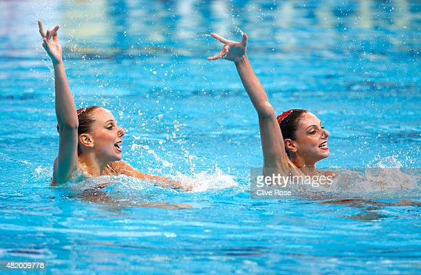 Linda Cerruti and Costanza Ferro of Italy compete in the Women's Duet Technical Preliminary Synchronised Swimming on day two of the 16th FINA World...