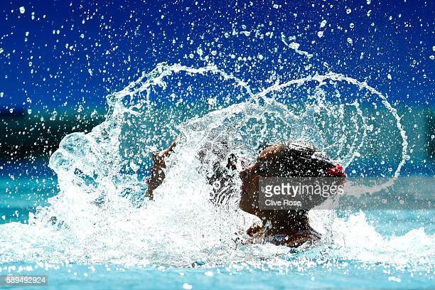 Linda Cerruti and Costanza Ferro of Italy compete in the Women's Duets Synchronised Swimming Free Routine Preliminary Round on Day 9 of the Rio 2016...
