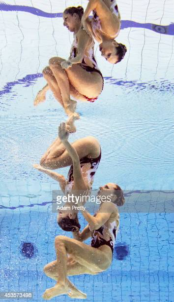 Linda Cerruti and Costanza Ferro of Italy perform their routine during the Womens Duet Synchronised Swimming Competition at EuropaSportpark on August...